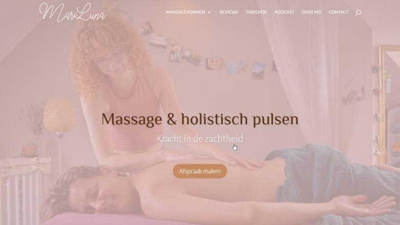 Mariluna massage webdesign home page screenshot